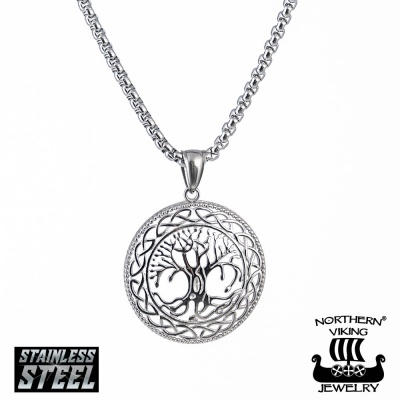 "Northern Viking Jewelry®-Riipus ""Shiny Steel Tree Of Life"""